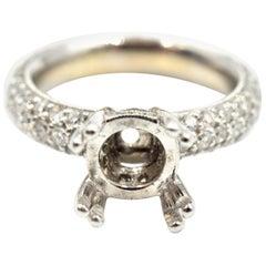 1.57 Carat Diamond 18 Karat White Gold Semi-Mount Engagement Ring