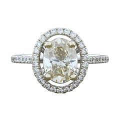 1.57 Carat Diamond Oval Shape Halo Gold Engagement Ring