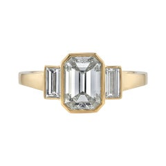 1.57 Carat Emerald Cut Diamond Set in a Handcrafted 18 Karat Yellow Gold Ring