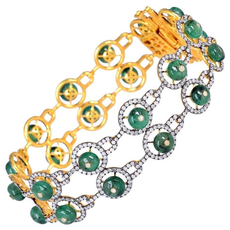 15.7 Carat Emerald Diamond Bangle Bracelet For Sale