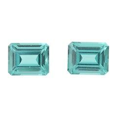 1.57 Carat Loose Tourmaline Gemstones, Emerald Cut Set of Two