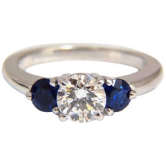 1.57 Carat Natural Diamonds Sapphire Three-Stone Ring 14 Karat Royal Blue