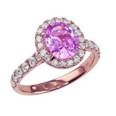 1.57 Carat Pink Sapphire Cocktail Ring set in 18K Rose Gold