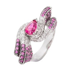 1.57 Carat Pear Rubelite Pink Sapphire Diamond 18 Karat White Gold Cocktail Ring