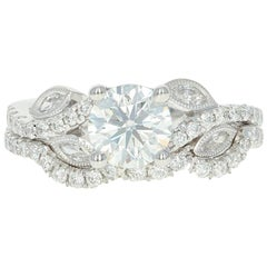 1.57 Carat Round Brilliant Diamond Ring and Wedding Band 14 Karat Gold GIA