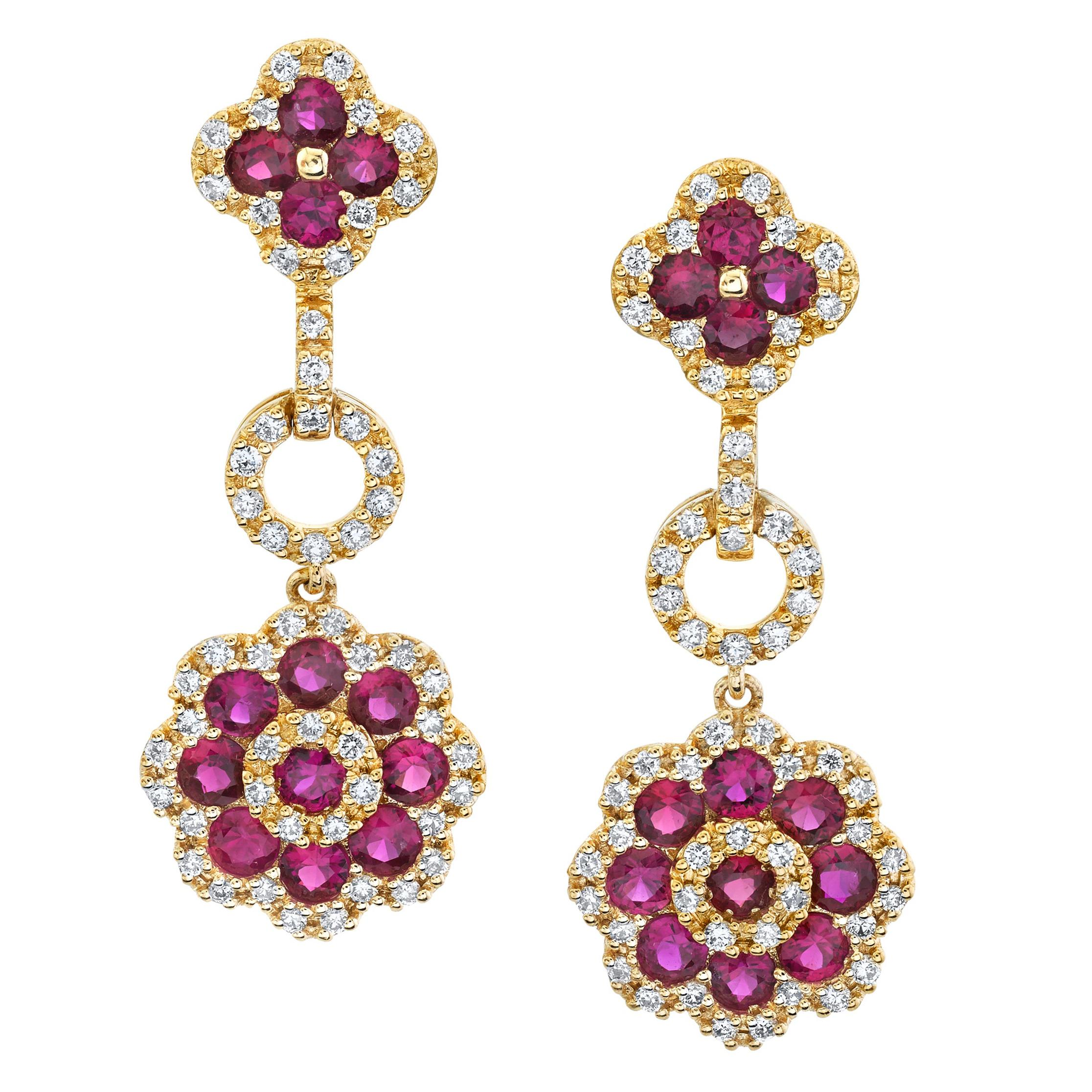 1.57 ct. t.w. Ruby and Diamond 18k Yellow Gold Flower Dangle Drop Post Earrings