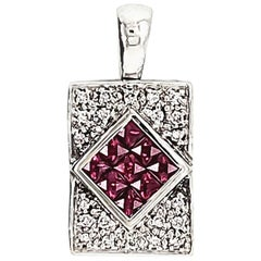 1.57 Carat Ruby and White Diamond Pendant Necklace