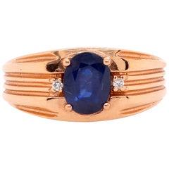 1.57 Carat Blue Sapphire and Diamond Men's Ring