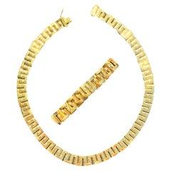 157 Grams 18 Karat Gold Link Chain Design Gold Necklace and Bracelet Men's Set