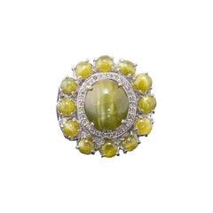 15.70 Carat Chrysoberyl Cats-Eye and Diamond 18k Gold Cocktail Ring