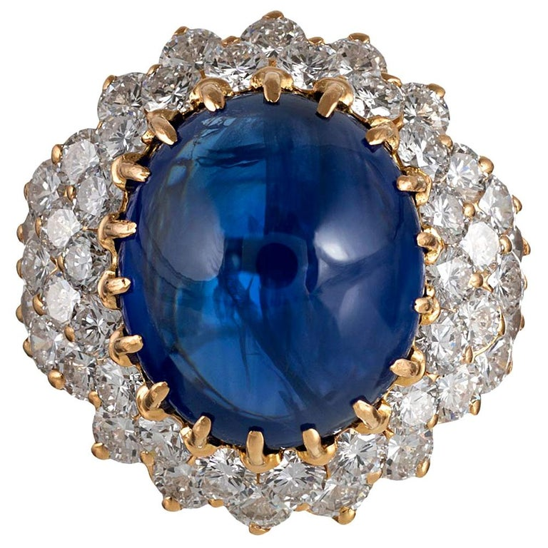 15.74 Carat Cabochon Sapphire and Diamond Ring For Sale