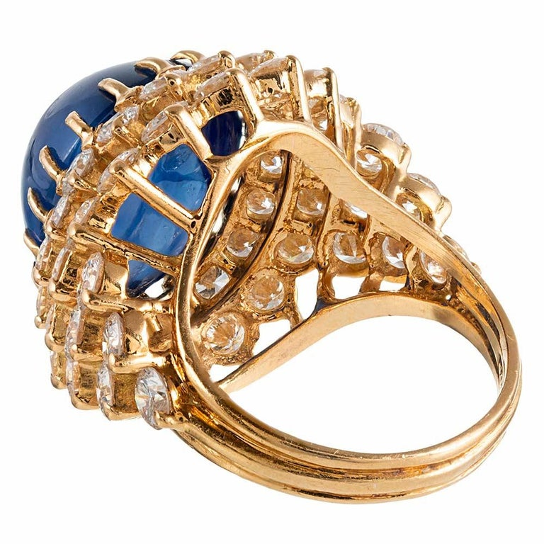 15.74 Carat Cabochon Sapphire and Diamond Ring In Good Condition For Sale In Carmel-by-the-Sea, CA