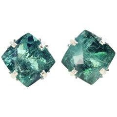 Glorious 15.75 Carat Green Tourmaline Sterling Silver Earrings