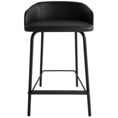 Black Leather Bar Stool by Marco Zito, Made in Italy, In stock In Los Angeles