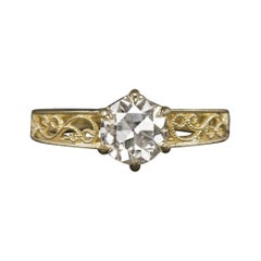 1.57Carat Diamond Old European Cut Engagement Ring 18k Yellow Gold Set Vintage