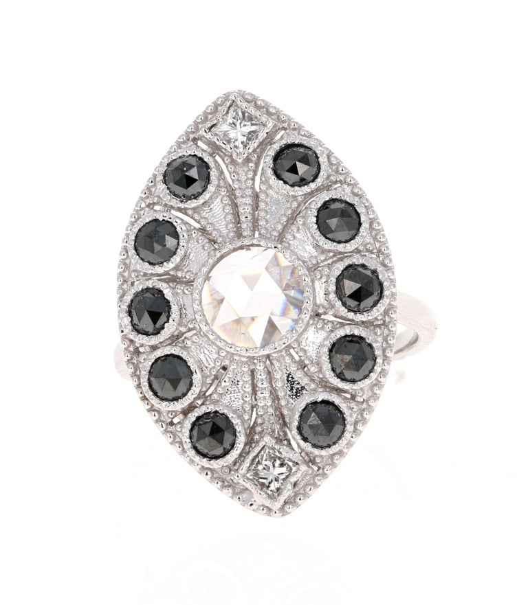 Simple yet Elegant.....This classic design is going to elevate your accessory wardrobe! Use it as a cocktail ring or as a daily statement ring!  The design of this ring is inspired from the Art Deco period but the use of Black Diamonds along with