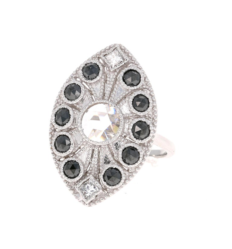 1.58 Carat Black and White Rose Cut Diamond Art Deco 18 Karat White Gold Ring In New Condition In San Dimas, CA