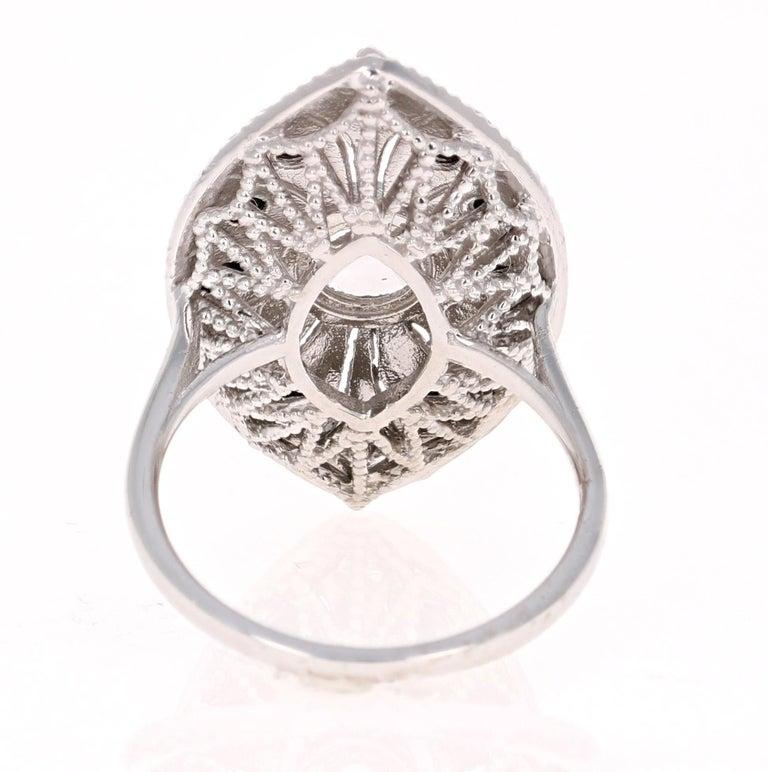 Women's 1.58 Carat Black and White Rose Cut Diamond Art Deco 18 Karat White Gold Ring
