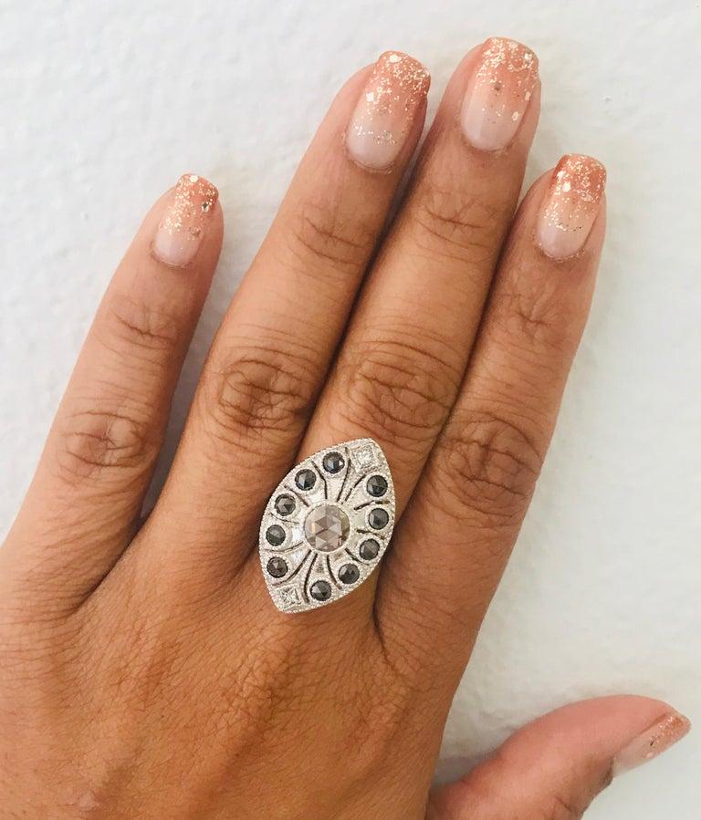 1.58 Carat Black and White Rose Cut Diamond Art Deco 18 Karat White Gold Ring 1