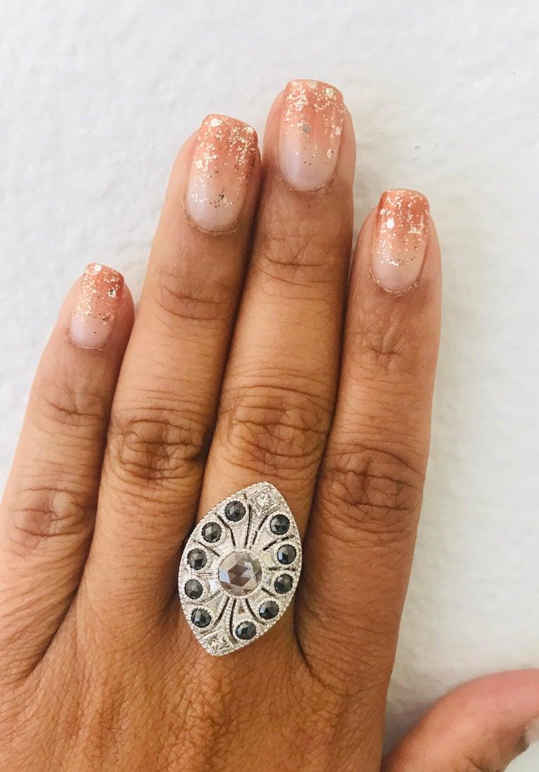 1.58 Carat Black and White Rose Cut Diamond Art Deco 18 Karat White Gold Ring 2