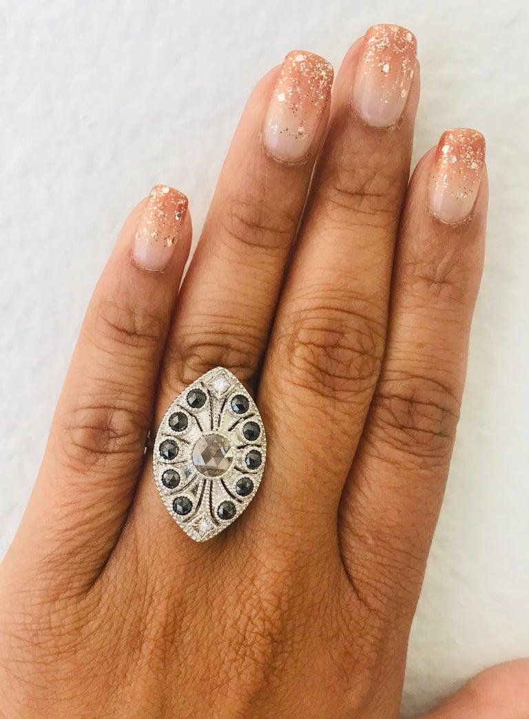 1.58 Carat Black and White Rose Cut Diamond Art Deco 18 Karat White Gold Ring 3