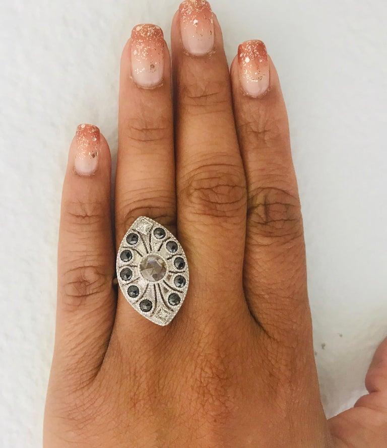 1.58 Carat Black and White Rose Cut Diamond Art Deco 18 Karat White Gold Ring 4