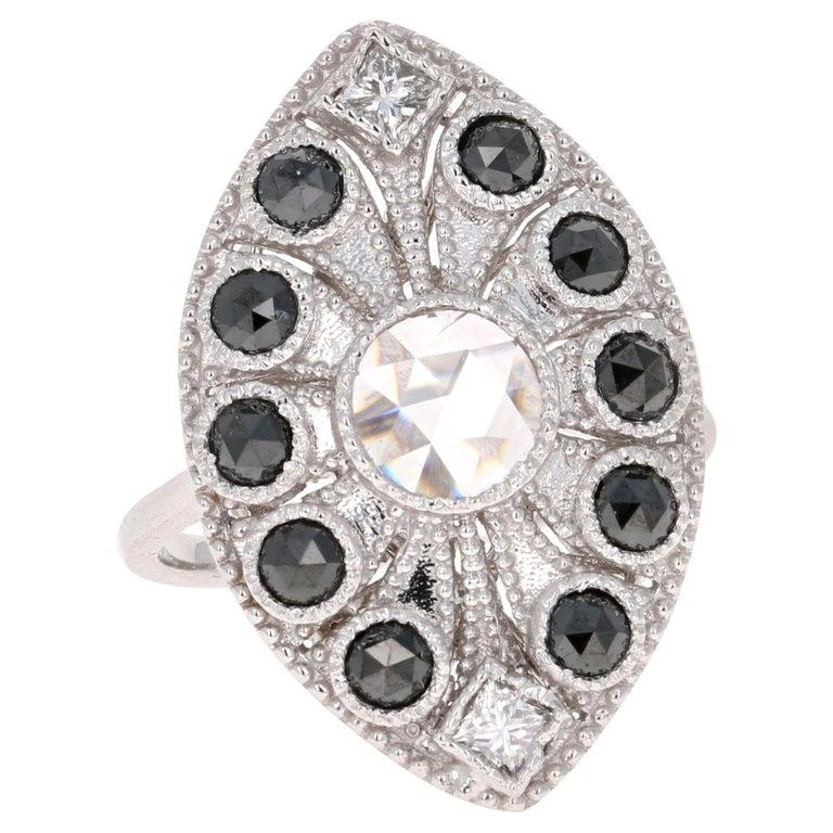 1.58 Carat Black and White Rose Cut Diamond Art Deco 18 Karat White Gold Ring