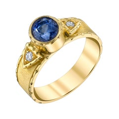 1.58 Carat Blue Sapphire, Diamond Yellow Gold Engraved Signet Band Ring
