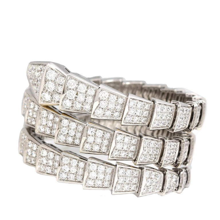 Brilliance Jewels, Miami Questions? Call Us Anytime! 786,482,8100  Brand: BVLGARI  Model Name: Serpenti  Metal: White Gold  Metal Purity: 18k  Stones: Round Brilliant Cut Diamonds  Total Carat Weight: 15.8 TCW  Size: M (Flexible fit for Small-Large