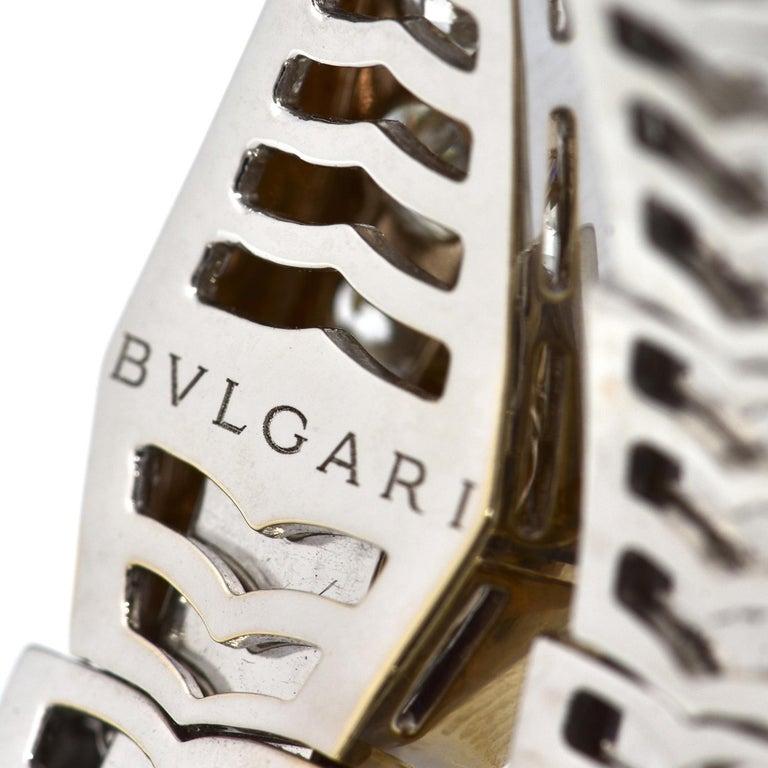 15.8 Carat Bvlgari Serpenti Full Diamond Paved White Gold Twirl Bracelet For Sale 4
