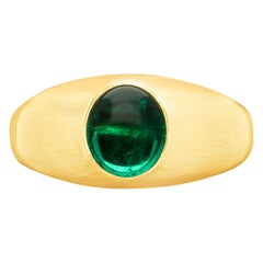 1.58 Carat Colombian Cabochon Emerald in 22 Carat Gold Gypsy Ring by Hancocks