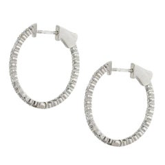 1.58 Carat Diamond Inside Out Hoop Earrings 14 Karat in Stock
