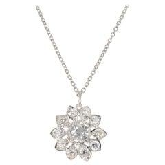 1.58 Carat Diamond Platinum Flower Pendant Necklace