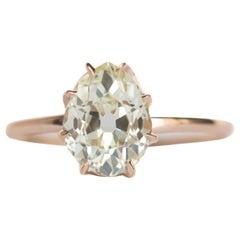 1.58 Carat Diamond Yellow Gold Engagement Ring
