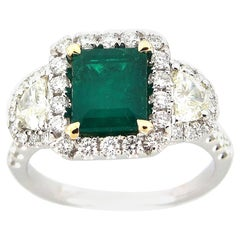 1.58 Carat Emerald and Diamond Cocktail Ring
