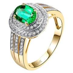 1.58 Carat Emerald Diamond Ring 14 Karat Yellow Gold