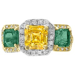 1.58 Carat GIA VVS Fancy Yellow Diamond and Colombian Emerald Ring