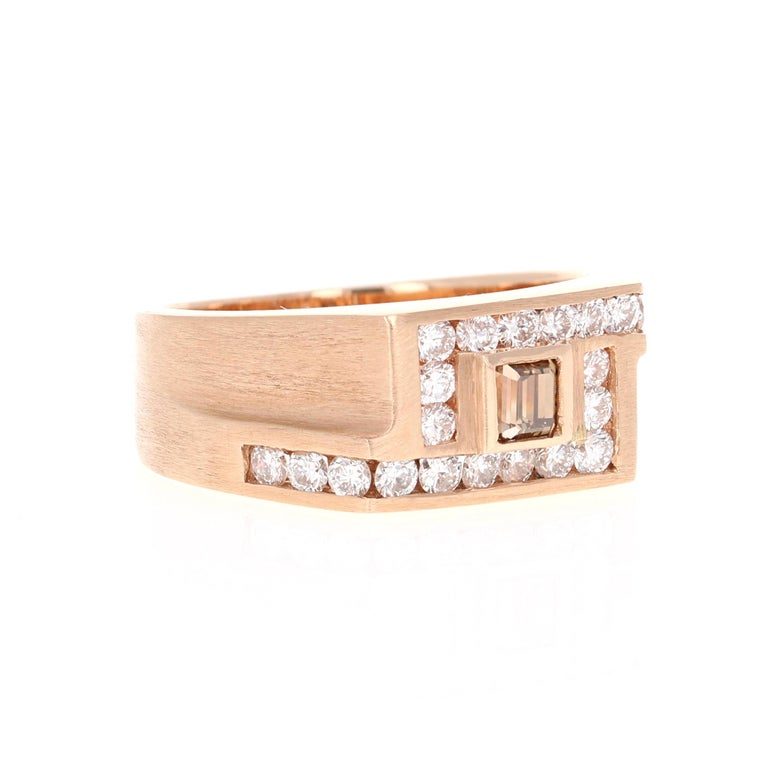 We have a Men's Fine Jewelry Collection as well! One stop shop for all your jewels!   Calling this band unique is simply an understatement!  This ring is a magnificent and masculine Men's Champagne Diamond Band in Rose Gold. It has a gorgeous