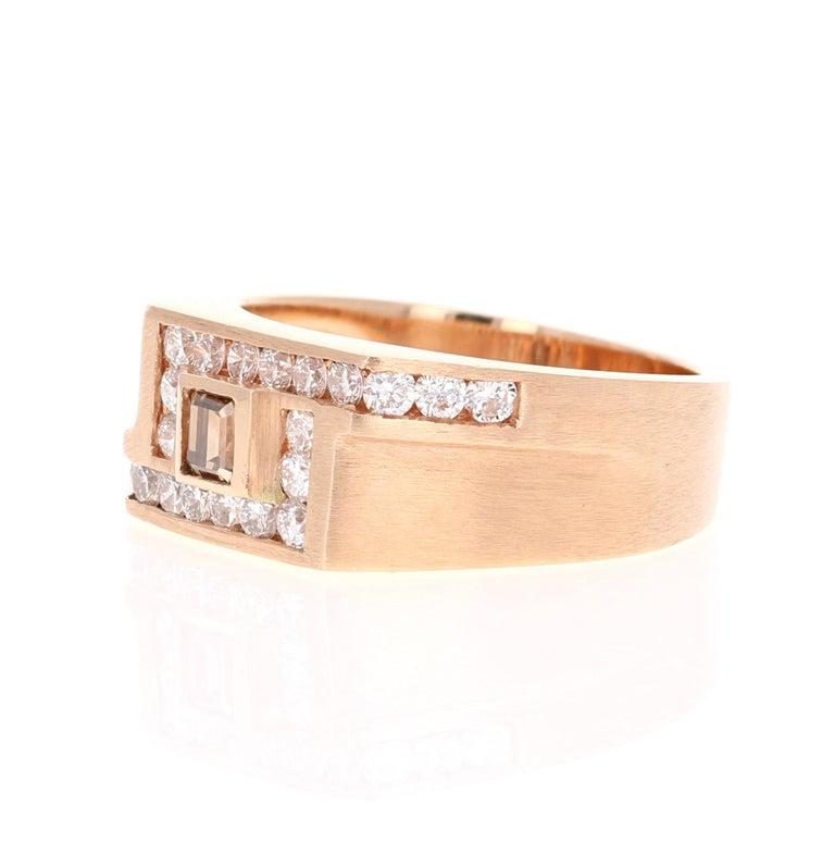 Modern 1.58 Carat Men's Champagne Diamond 14 Karat Rose Gold Wedding Band For Sale