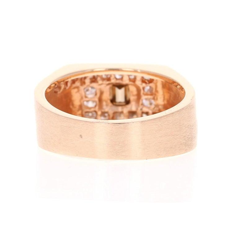 Emerald Cut 1.58 Carat Men's Champagne Diamond 14 Karat Rose Gold Wedding Band For Sale