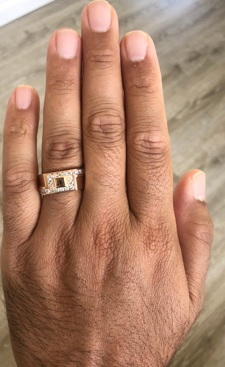 1.58 Carat Men's Champagne Diamond 14 Karat Rose Gold Wedding Band In New Condition For Sale In Los Angeles, CA