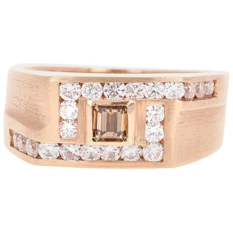 1.58 Carat Men's Champagne Diamond 14 Karat Rose Gold Wedding Band For Sale