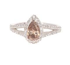 1.58 Carat Natural Fancy Brown Diamond Engagement 14 Karat White Gold Ring