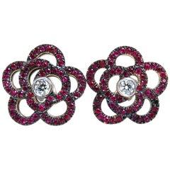 1.58 Carat Natural Ruby Diamonds Cluster Clip Earrings 14 Karat Gold Flower