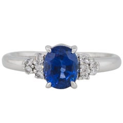 1.58 Carat Oval Shape Sapphire Diamond Cluster Cocktail Ring Platinum in Stock