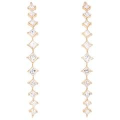 1.58 Carat Princess Cut Diamond Earrings 14 Karat Yellow Gold