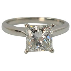 1.58 Carat Princess Cut Diamond Solitaire Engagement Ring