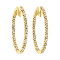 1.58 Carat Round Diamond Hoop Earrings in 18 Karat Yellow Gold