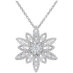 1.58 Carat Total Diamond Cluster Flower Pendant Necklace