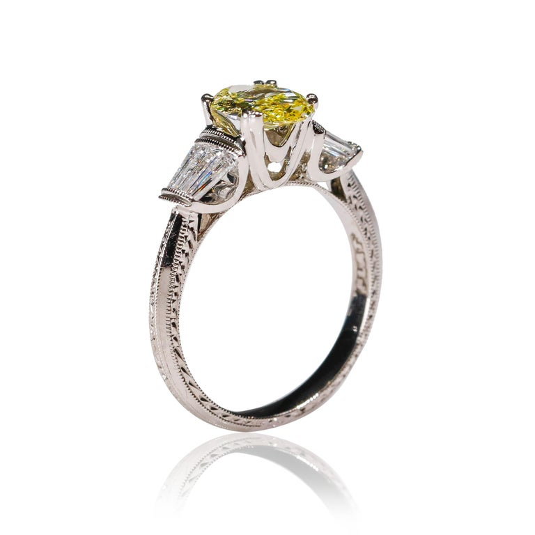 Oval Cut 1.58 Carat Oval Yellow Diamond Baguette Platinum Ring by Tacori For Sale